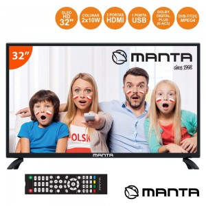 "TV LED 32"" Hd 3 HDMI USB Dvb-T/C 2 Colunas 10W MANTA"