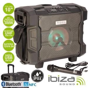 Ibiza Sistema Som WPORT10-300 300W Usb/bt/nfc/fm/bat Mic