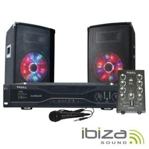 Ibiza Coluna Bluetooth Portátil 20wrms DJ350LED