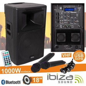 "Coluna RX18A-BT 18"" 1000W USB/BT/SD/Bat Vhf Preta IBIZA"