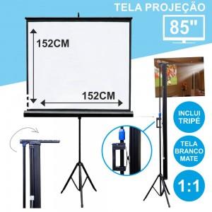 """TELA PROJEÇÃO C/ SUPORTE TRIPÉ 85"""" 152X152CM 1:1 (TPM85)"""