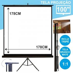 """Tela Projeção C/ Suporte Tripé 100"""" 178x178cm 1:1"""
