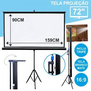"""Tela Projeção C/ Suporte Tripé 72"""" 159x90cm 16:9TPM72"""